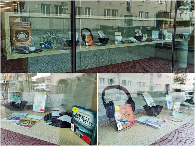 Fot der Bibliotheksinternen Ausstellung zu Hörbüchern